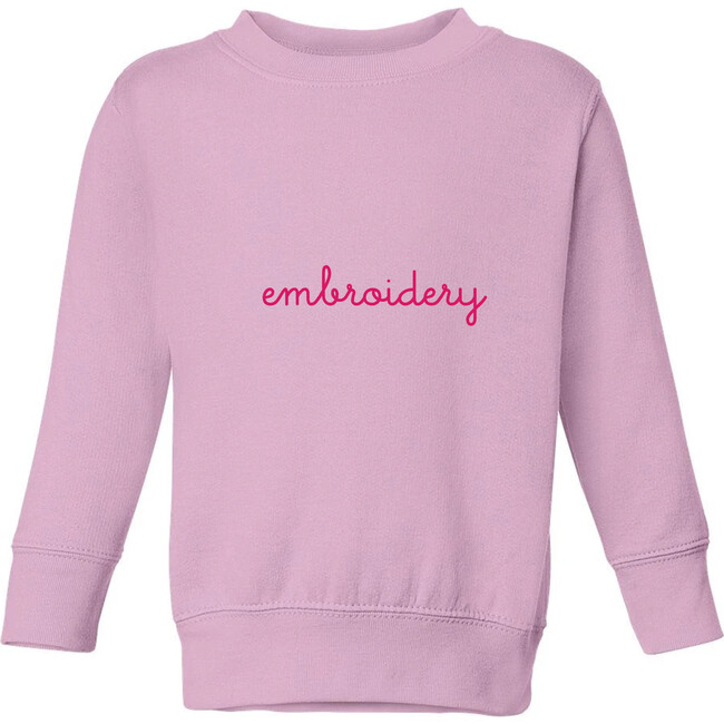 Little Kid Large Embroidery Classic Crewneck, Pink