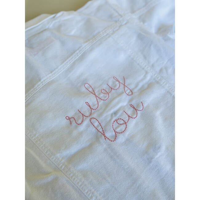 Baby Front Embroidery Denim Jacket, White