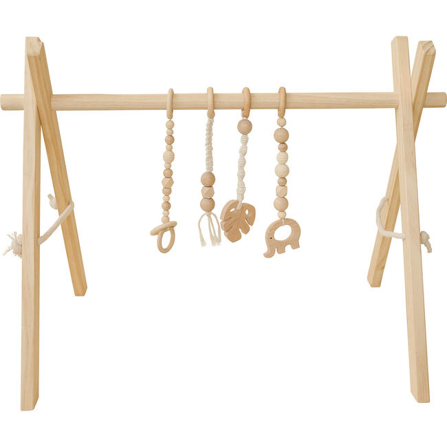 Natural Wood Gym with Macrame Toys