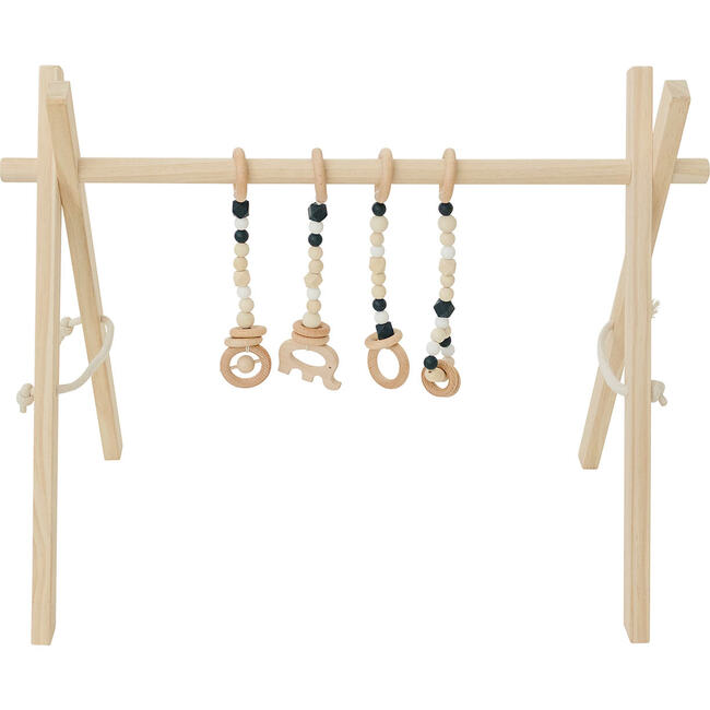 Natural Wood Gym with Black Toys