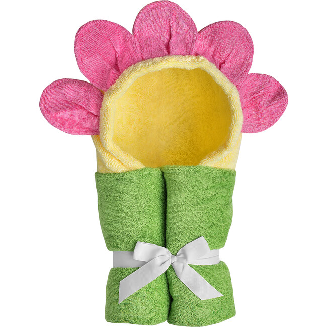 Flower Hooded Towel, Yellow - Towels - 1