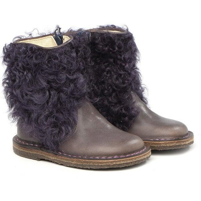 Side Zip Ankle Boots, Purple
