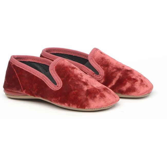 Velvet Slippers, Red - Slippers - 1