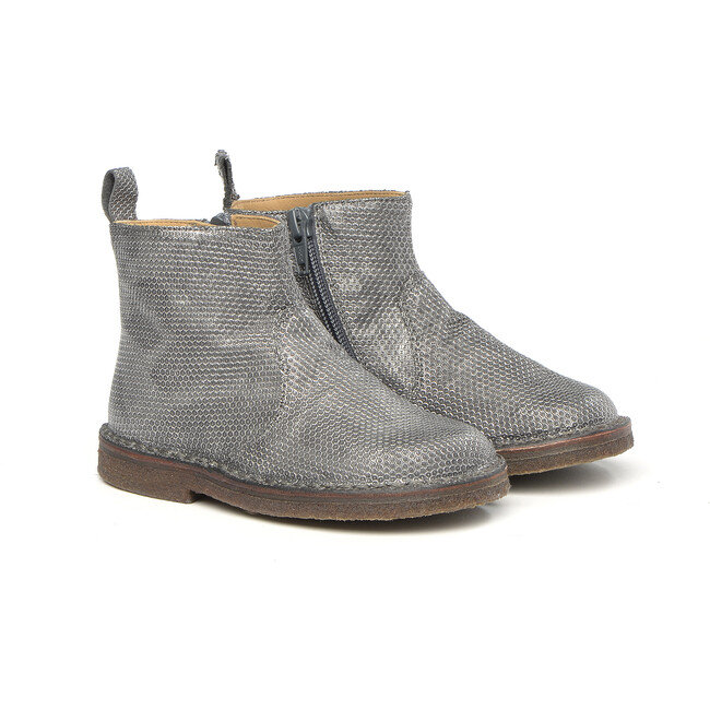 Side Zip Ankle Boots, Silver - Booties - 1