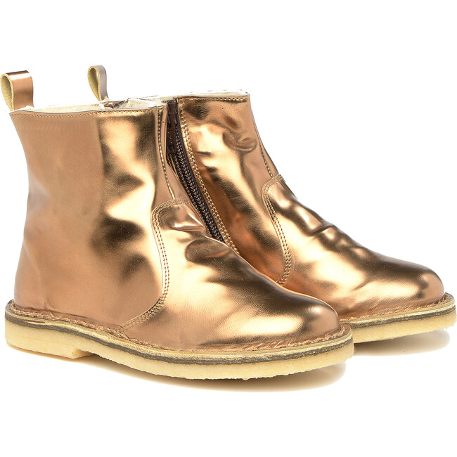 Side Zip Ankle Boots, Copper