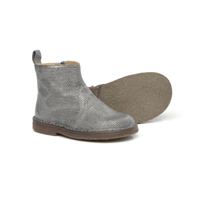 Side Zip Ankle Boots, Silver