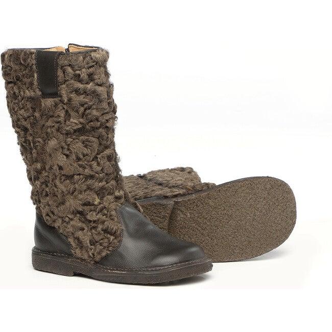 Sheepskin Details Boots, Dark Borwn