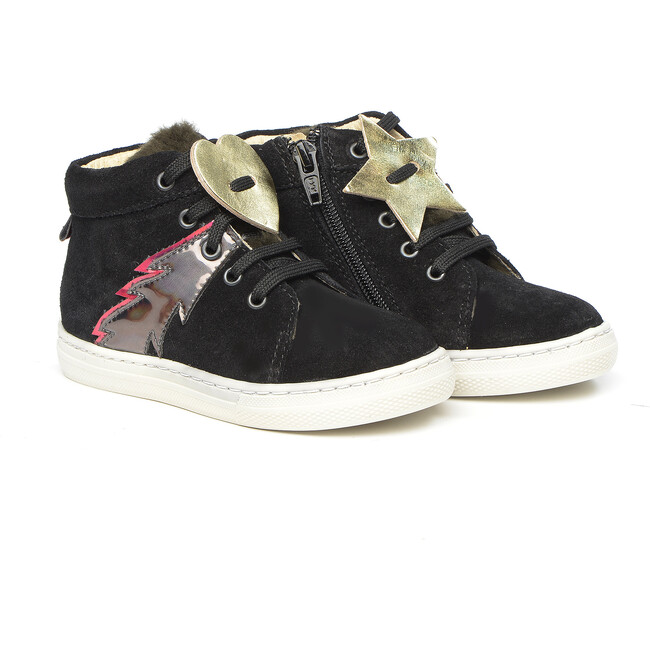 Lace-Up Sneakers, Black