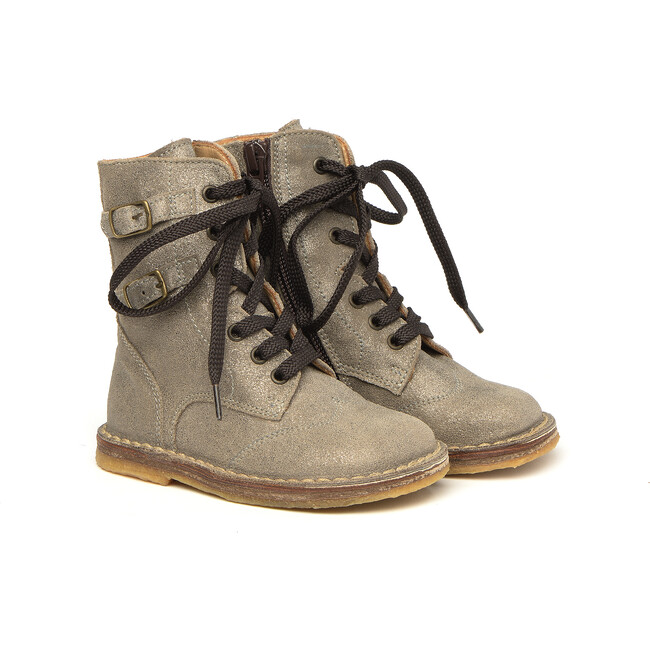 Lace-Up Ankle Boots, Glitter Beige