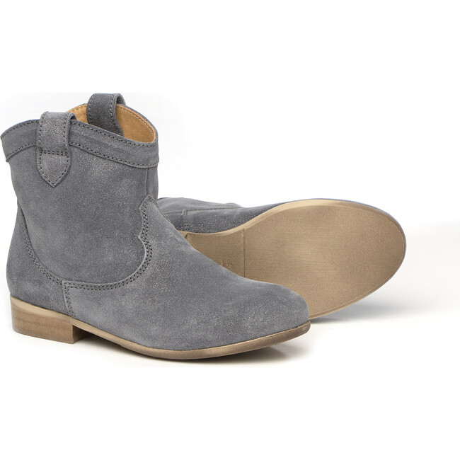 Grey Leather Ankle Boots