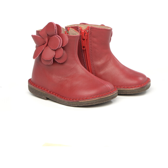 Flower Detail Ankle Boots, Red