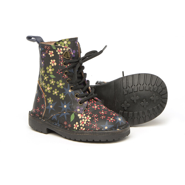 Flower Printed Leather Ankle Boots, Black