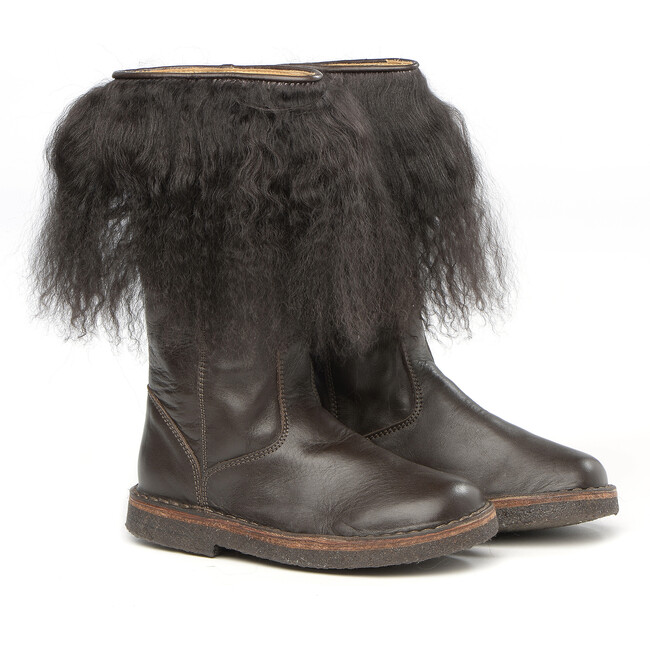 Brown Leather Boots With Fur Details - Boots - 1