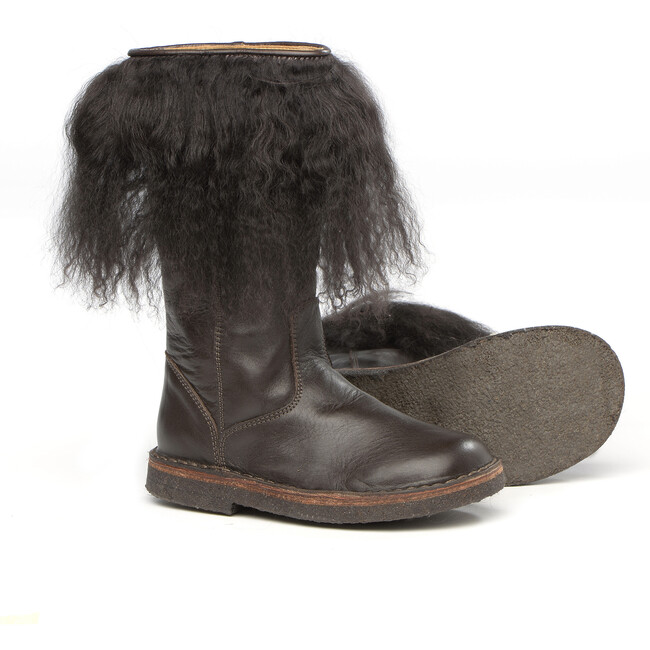 Brown Leather Boots With Fur Details