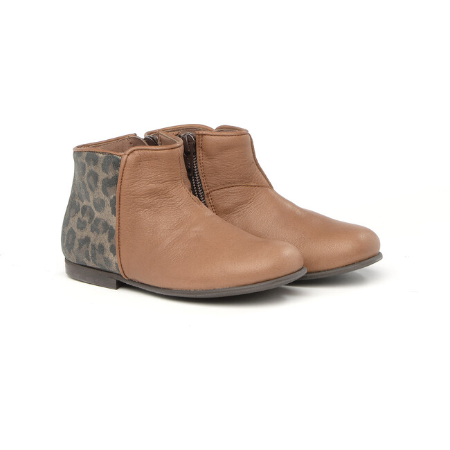 Ankle Boots With Side Zip, Brown - Booties - 1