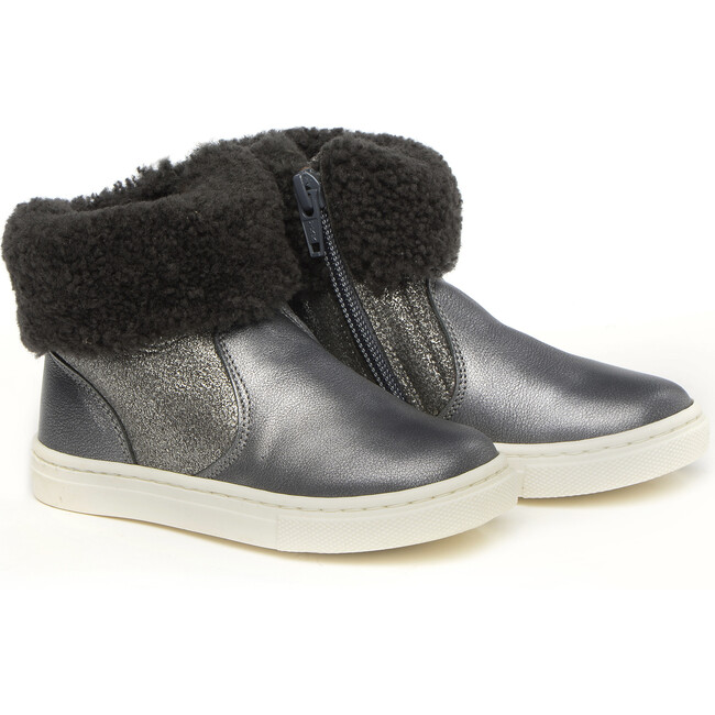 Ankle Boots With Sheepskin Details, Grey