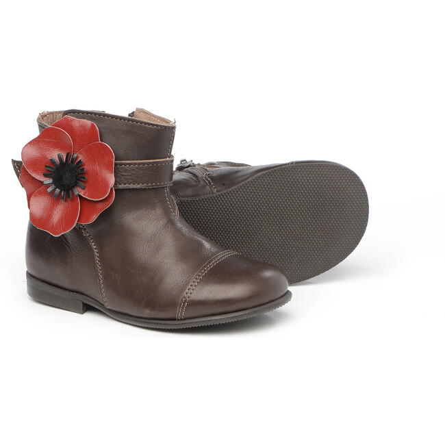 Ankle Boots With Flower Detail, Brown