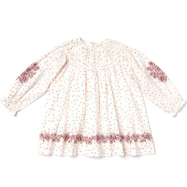 Hand Embroidered Tulip Dress, Polka Dot