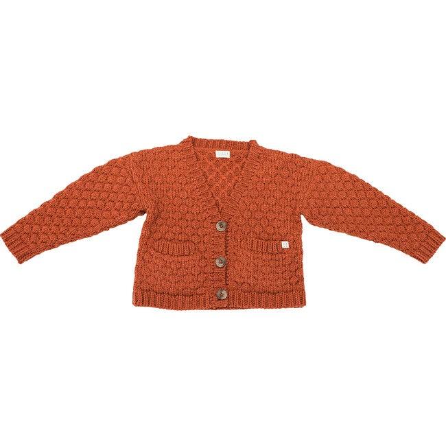 Alpaca Wool Cardigan, Rust - Sweaters - 1