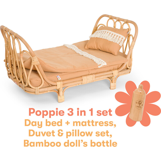 3-in-1 Rattan Doll Daybed Set, Clay