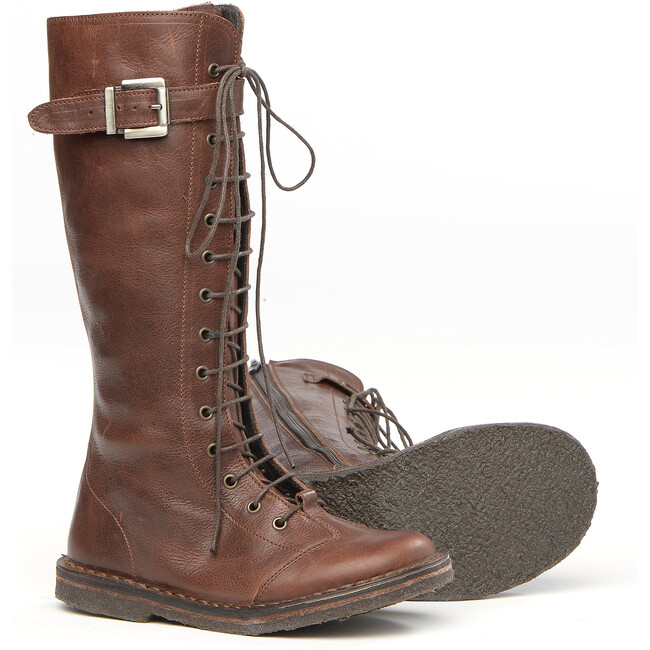 Lace-Up Boots In Brown Leather
