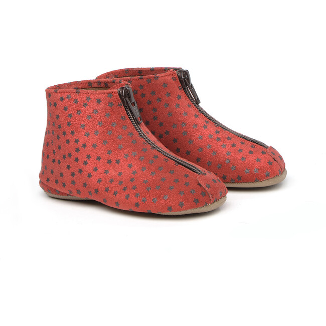 Front Zip Slippers, Red
