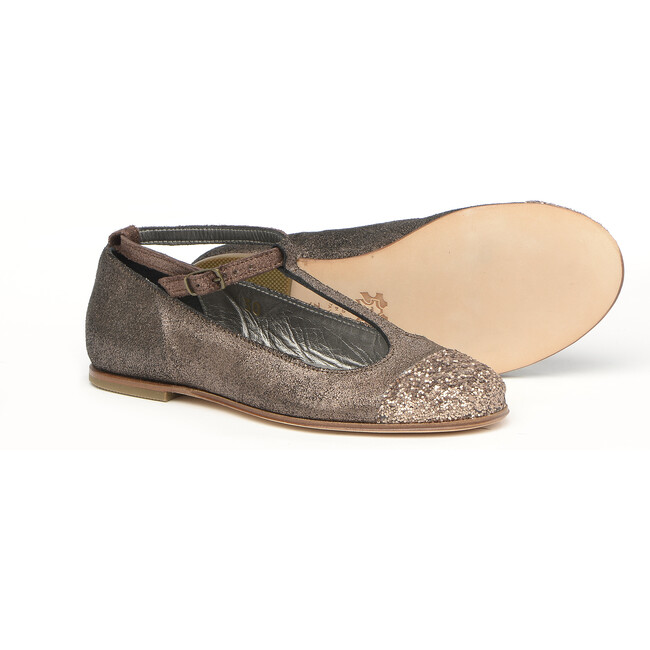 Ballerinas In Laminated Leather, Copper