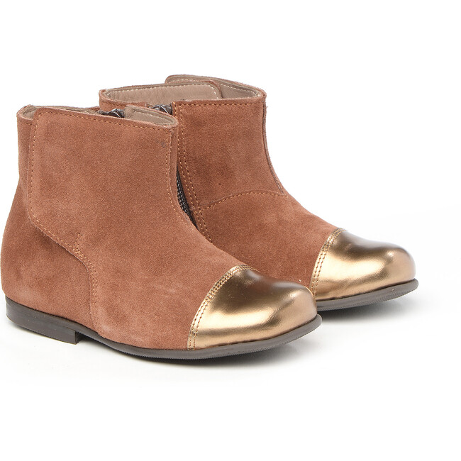Ankle Boots In Suede Leather, Brown