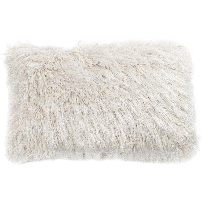 "Shag Modish Metallic Pillow, Snow - 12 x 20"""