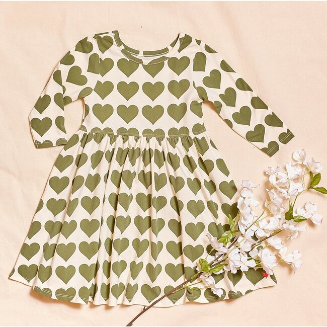 Organic Steph Dress, Olive Green Heart