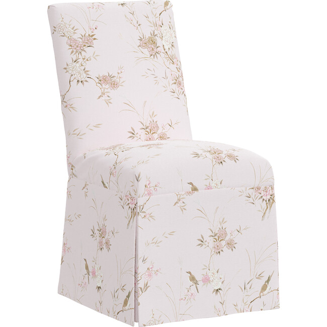 Alice Slipcover Accent Chair, Bird Chinoiserie Pink