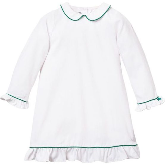 White Sophia Nightgown, Green Piping - Nightgowns - 1