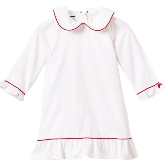 White Sophia Nightgown, Red Piping