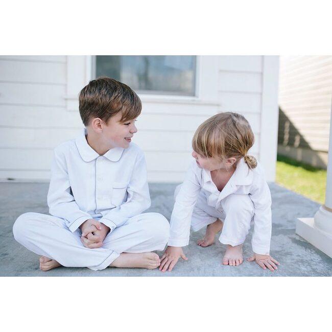 White Pajamas with Grey Piping