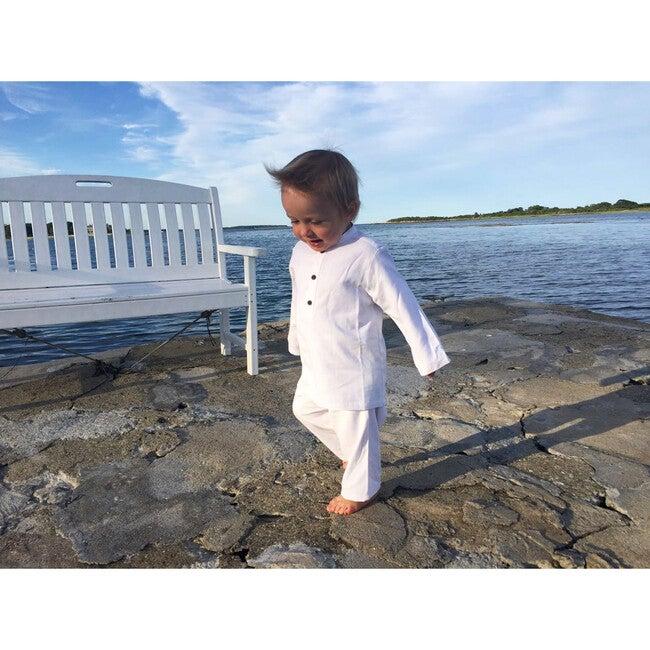 Mandarin Collar White Pajama Set