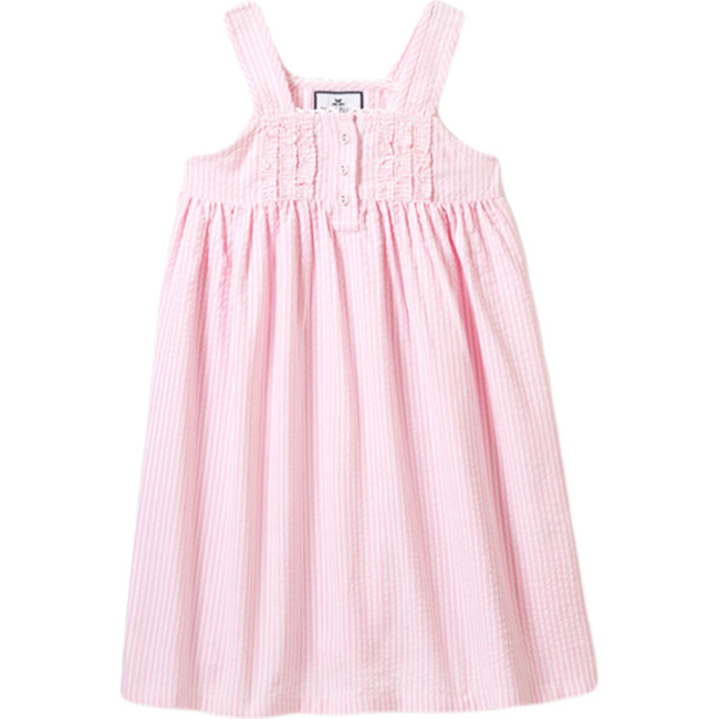 Charlotte Nightgown, Pink Seersucker