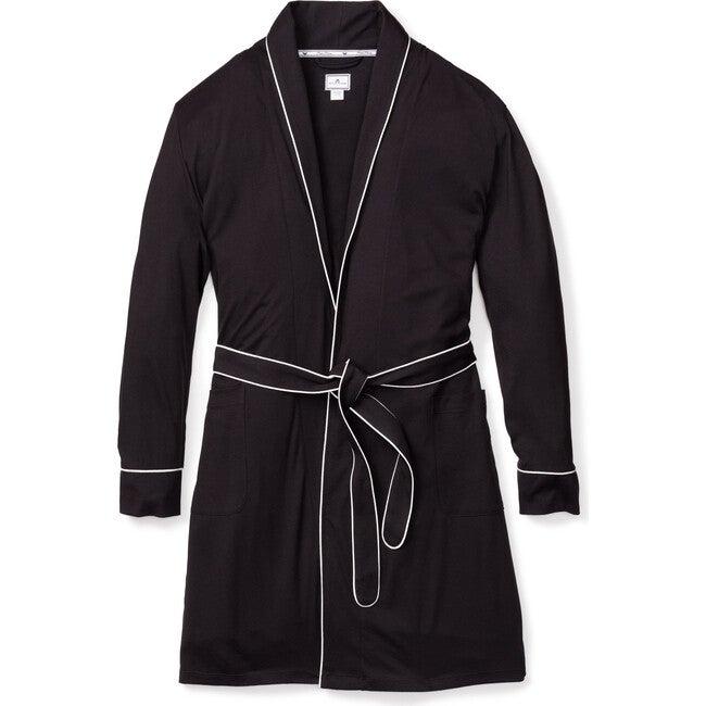 Women's Luxe Pima Cotton Robe, Black & White