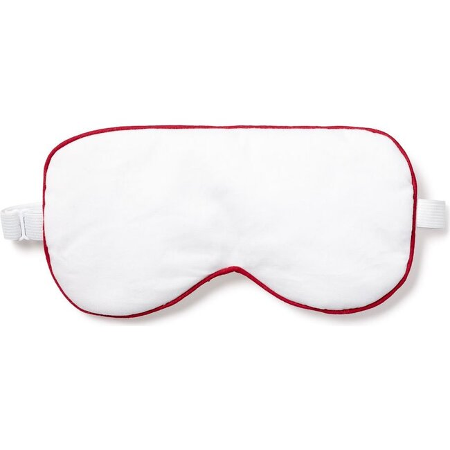 Adult Traditional Eye Mask, White & Red Piping