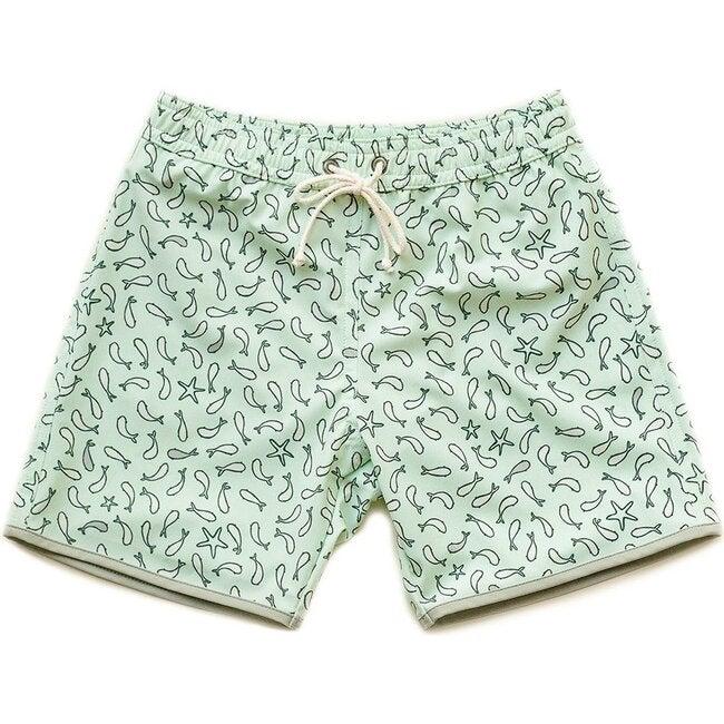 Tommaso Shorts, Fish Print Mint