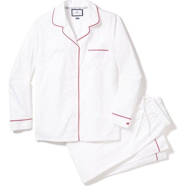 Men's Classic Twill Pajama Set, White & Red Piping
