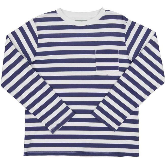 Pocket Tee Long Sleeve, Medieval Blue Stripe