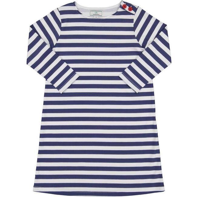 Franca 3/4 Sleeve Dress, Medieval Blue Stripe