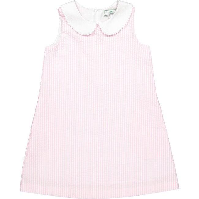 Maddie Seersucker Dress, Pink/White - Dresses - 1