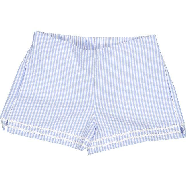 Harper Seersucker Shorts, Blue/White
