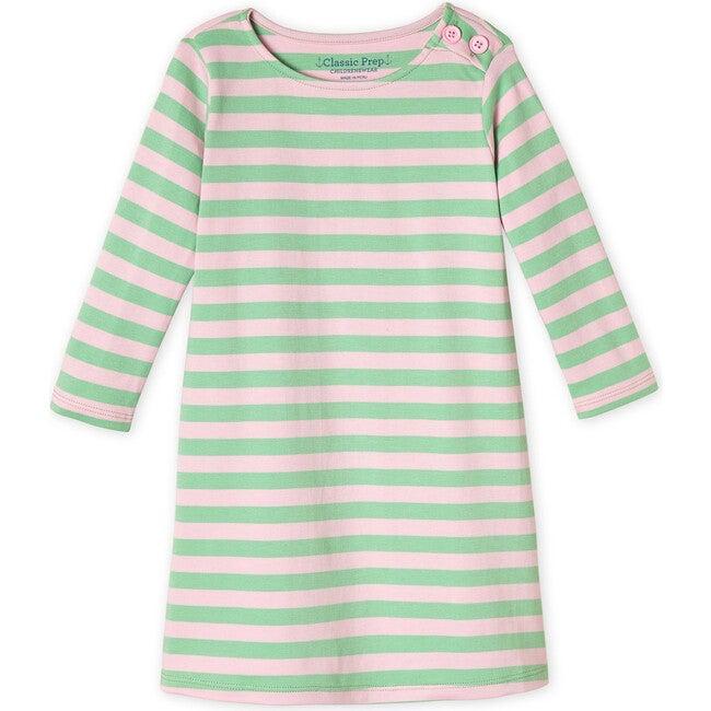 Franca 3/4 Sleeve Dress, Apple Green Lilly Pink Stripe