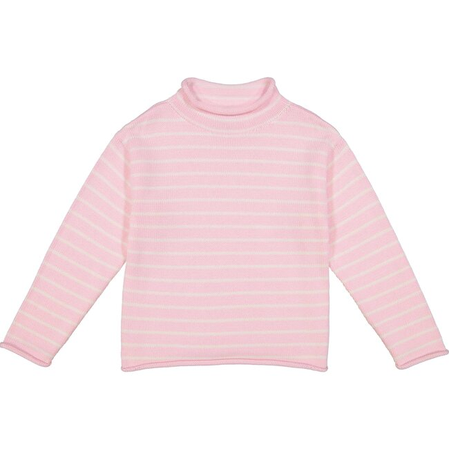 Fraser Striped Roll Neck Sweater, Pink/White - Sweaters - 1