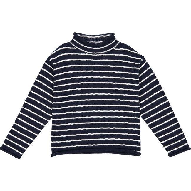 Fraser Striped Roll Neck Sweater, Navy/White
