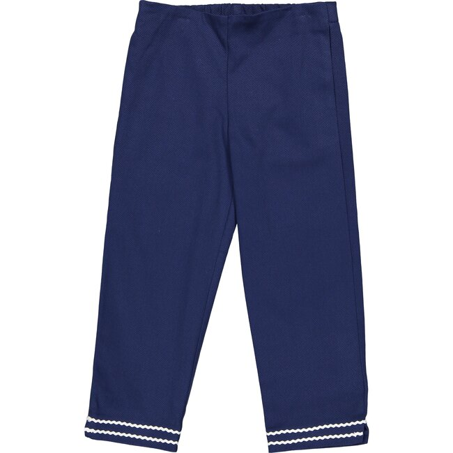 Evie Pique Pants, Navy - Pants - 1