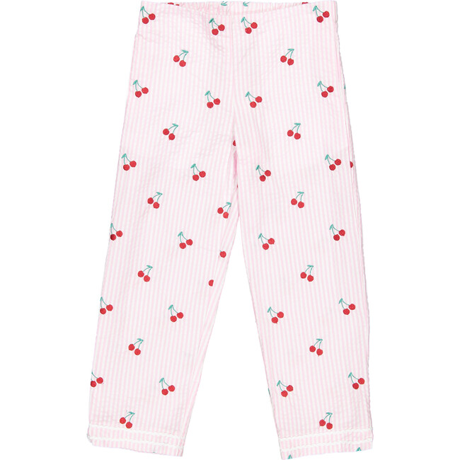 Evie Cherries Embroidered Seersucker Pants, Pink