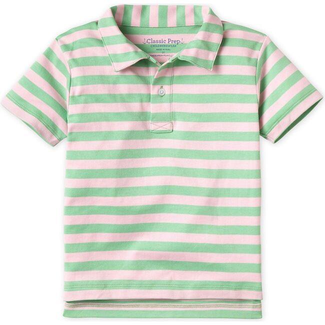 Henry Short Sleeve Pima Polo, Apple Green Lilly Pink Stripe